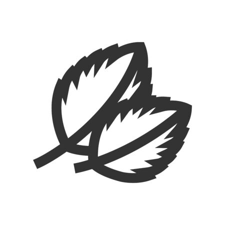 Basil leaves icon in thick outline style. Black and white monochrome vector illustration.