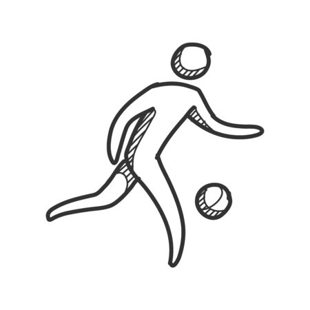 Football player icons in sketches. Sport soccer hand drawn doodles. Ilustração