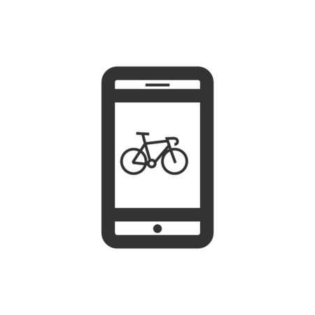 Cycling apps icon in thick outline style. Black and white monochrome vector illustration.