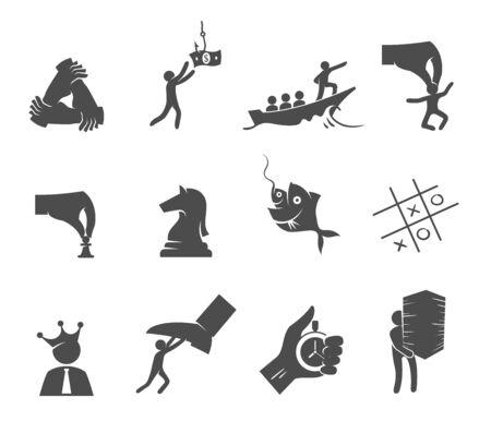 Business management icons in black and white. Businessmen vector illustration. Ilustração