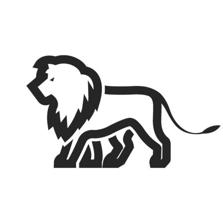 Lion icon in thick outline style. Black and white monochrome vector illustration.