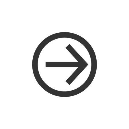 Arrow icon in thick outline style. Black and white monochrome vector illustration.