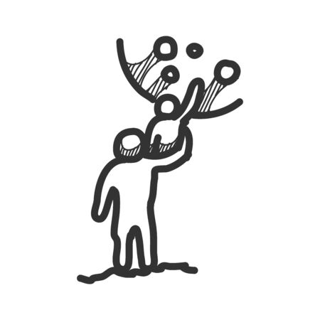 Sketch drawing of man and kid with moon background. Hand drawn vector illustration.