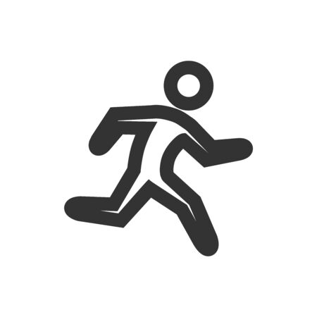 Running athlete icon in thick outline style. Black and white monochrome vector illustration.