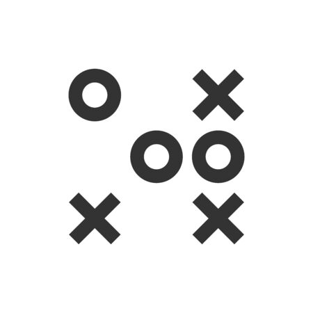 Strategy game icon in thick outline style. Black and white monochrome vector illustration.