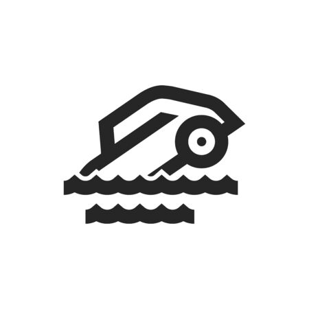 Drowned car icon in thick outline style. Black and white monochrome vector illustration. Ilustração