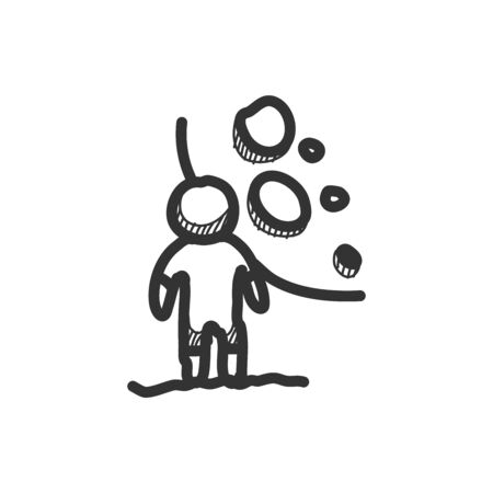 Sketch drawing of man with moon background. Hand drawn vector illustration.