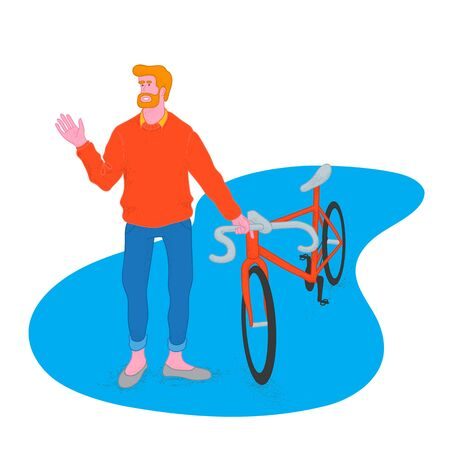 Bearded cyclist holding his bicycle. Orange sweater. Lifestyle vector illustration.