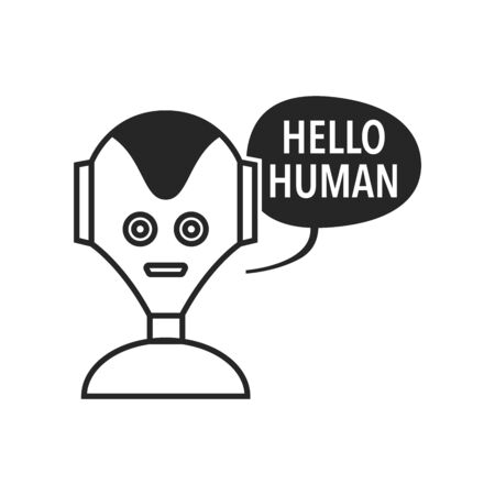 Robot icon in black and white. Industrial technology vector illustration.