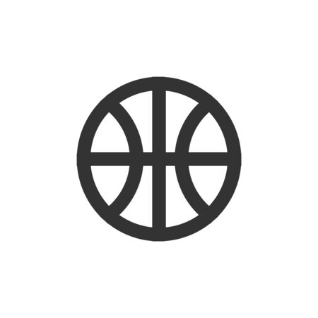 Basket ball icon in thick outline style. Black and white monochrome vector illustration.