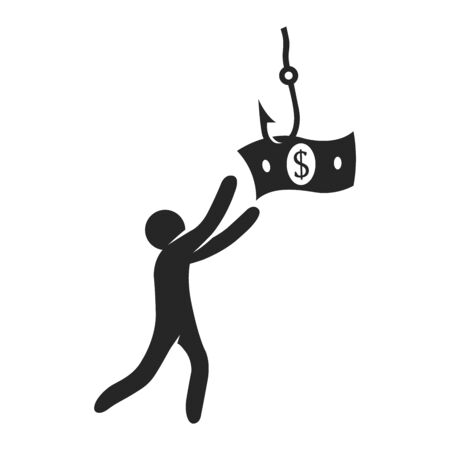 Man chasing dollar bait icon in black and white. Vector illustration.