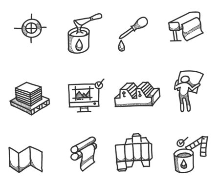 Printing icons in sketches. Industrial hand drawn doodles. Ilustração