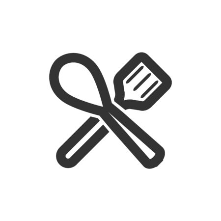 Spatula icon in thick outline style. Black and white monochrome vector illustration. Ilustração