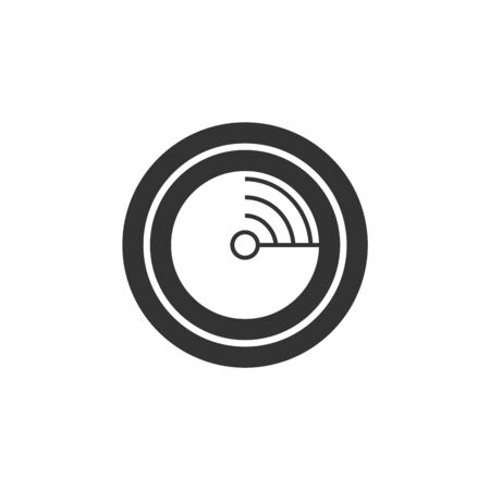 Radar icon in thick outline style. Black and white monochrome vector illustration.
