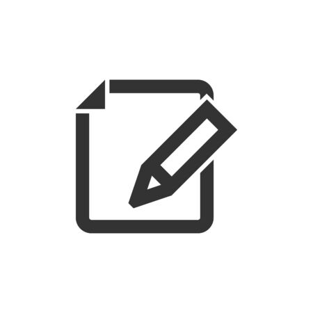 Document edit icon in thick outline style. Black and white monochrome vector illustration.