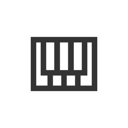 Piano  keys icon in thick outline style. Black and white monochrome vector illustration.
