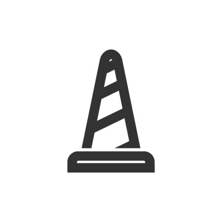 Traffic cone icon in thick outline style. Black and white monochrome vector illustration. Ilustração