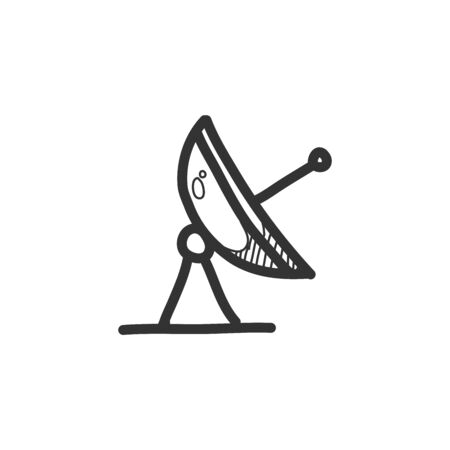 Satellite receiver icon in doodle sketch lines. Data information technology space science