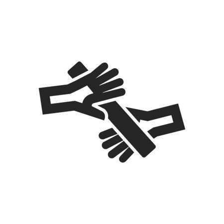 Relaislaufsymbol im dicken Umrissstil. Schwarz-Weiß-Monochrom-Vektor-Illustration.