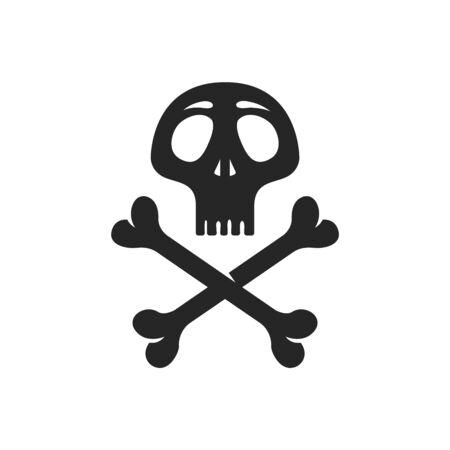 Human skull and bones icon in black and white. Vector illustration.