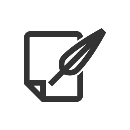 Letter quill pen icon in thick outline style. Black and white monochrome vector illustration. Ilustração