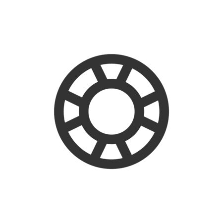 Ring buoy icon in thick outline style. Black and white monochrome vector illustration.