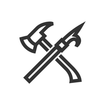 Fireman tools icon in thick outline style. Black and white monochrome vector illustration. Ilustração