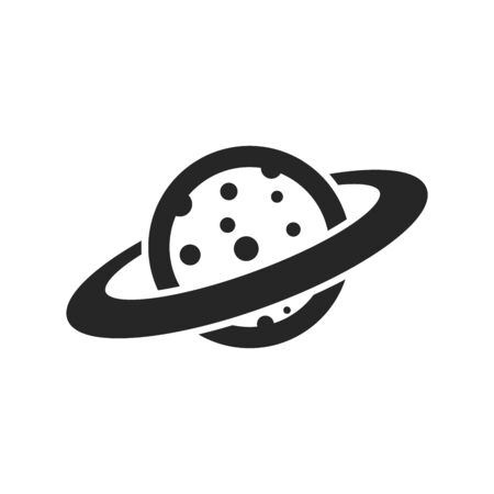 Planet Saturn icon in thick outline style. Black and white monochrome vector illustration.