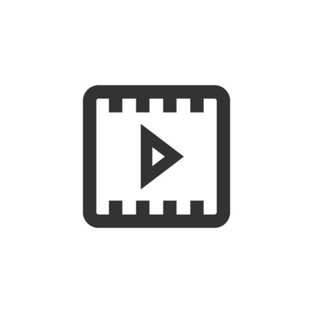 Video file format  icon in thick outline style. Black and white monochrome vector illustration.