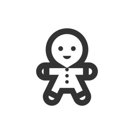 Gingerman icon in thick outline style. Black and white monochrome vector illustration. Ilustração