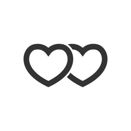 Heart shape icon in thick outline style. Black and white monochrome vector illustration.