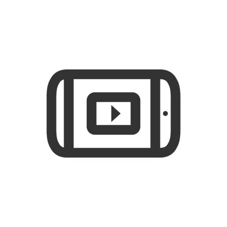 Portable Movie Player icon in thick outline style. Black and white monochrome vector illustration.