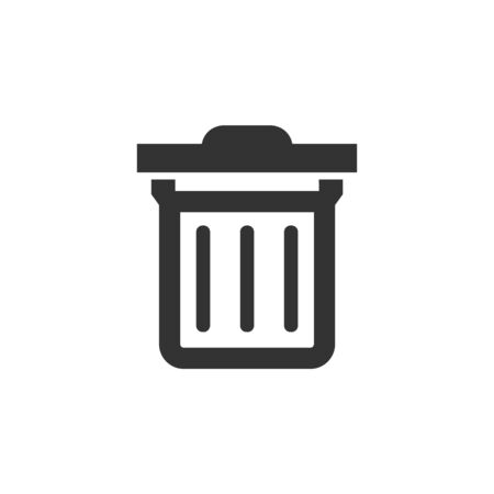 Trash bin icon in thick outline style. Black and white monochrome vector illustration.