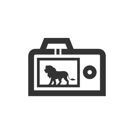 Camera icon in thick outline style. Black and white monochrome vector illustration.