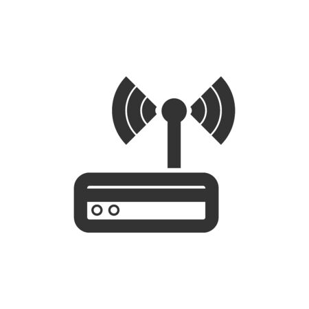 Router icon in thick outline style. Black and white monochrome vector illustration.