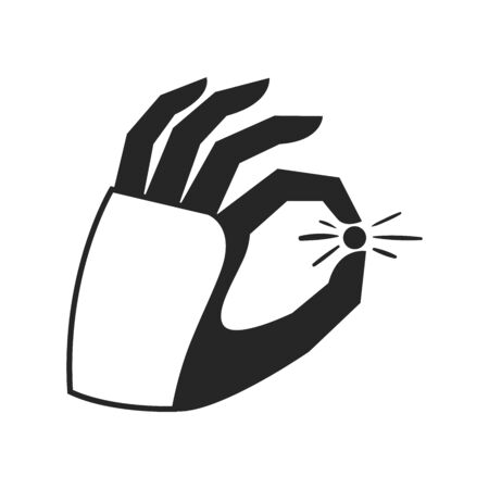 Robotic arm holding small object. Black and white icon. Vector illustration.