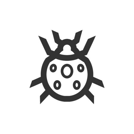 Bug icon in thick outline style. Black and white monochrome vector illustration.