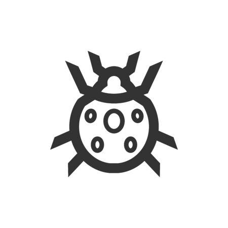 Icono de error en estilo de contorno grueso. Ilustración de vector monocromo blanco y negro.