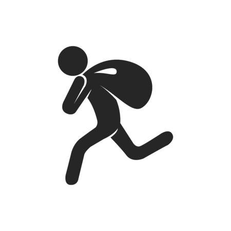 Burglar icon in black and white. Vector illustration. Ilustração