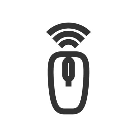 Computer mouse icon in thick outline style. Black and white monochrome vector illustration. Ilustração