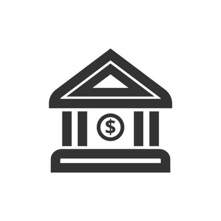 Bank building icon in thick outline style. Black and white monochrome vector illustration. Ilustração