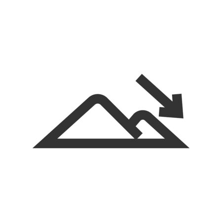 Elevation icon in thick outline style. Black and white monochrome vector illustration.