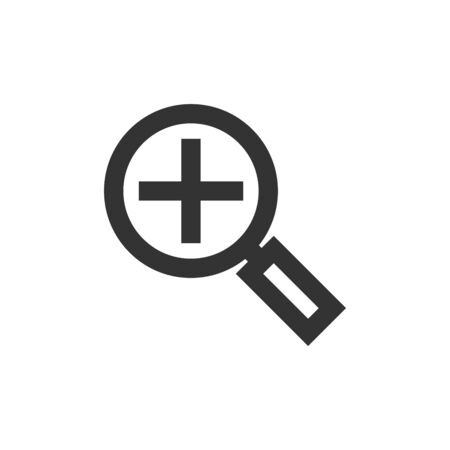 Magnifier icon in thick outline style. Black and white monochrome vector illustration.