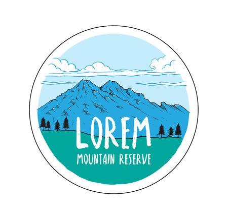 Mountain hand drawn illustration. Logo template.