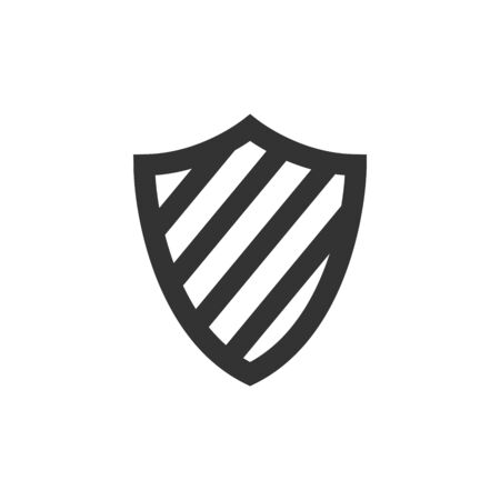 Shield icon in thick outline style. Black and white monochrome vector illustration.