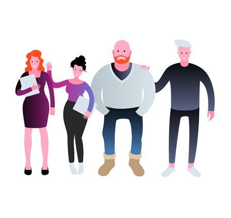 Group of smiling business people. Teamwork vector illustration.