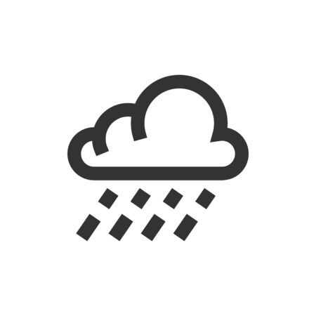 Rain cloud icon in thick outline style. Black and white monochrome vector illustration.