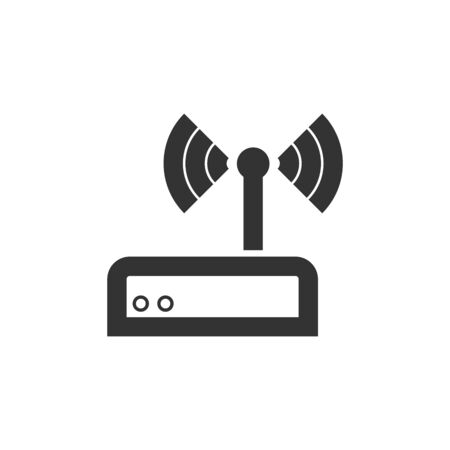 Internet router icon in thick outline style. Black and white monochrome vector illustration.