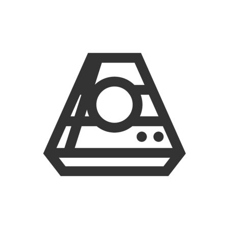 Space capsule icon in thick outline style. Black and white monochrome vector illustration. Ilustração