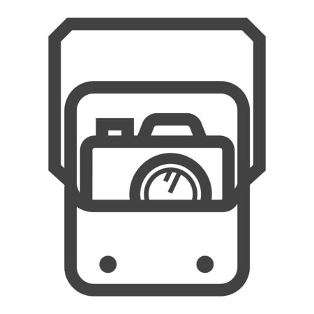Camera bag icon in thick outline style. Black and white monochrome vector illustration.